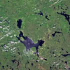 Satellitbild över Siljansringen i Dalarna.