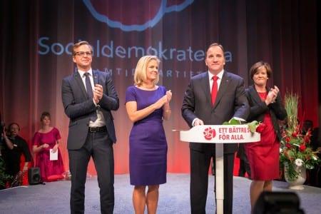 Stefan Löfven håller sitt segertal på socialdemokraternas valvaka. Foto: Socialdemokraterna/Anders Löwdin