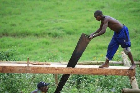 Uppbyggnaden av Rwanda pågår. Två timmermän sågar virke till byggnader. Foto: AdamCohn/Flickr/CC BY-NC-ND 2.0