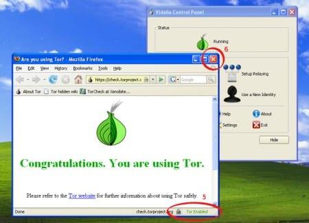 Så här kan det se ut när du Tor är korrekt installerat och igång. Viadalia Control Panel håller anslutningen upprättad och webbläsaren bör indiktera om Tor-används.