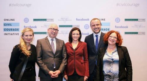 Från vänster, Sasha Havlicek, Gerd Billen, Sheryl Sandberg, Peter Neumann, Anetta Kahane vid lanseringen av initiativet under World Economic Forum