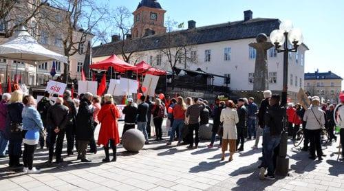 Svalt intresse för S-demonstration i Falun