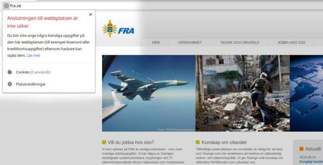Var tredje svensk myndighet har en osäker webbplats – trafik till FRA kan avlyssnas