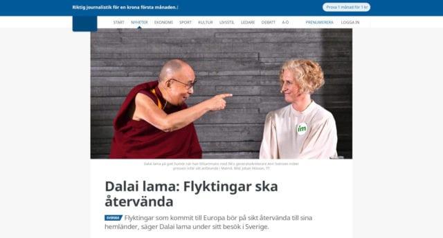 DN och GP raderade artikel med Dalai Lamas uppmaning om att Europas flyktingar skall återvända