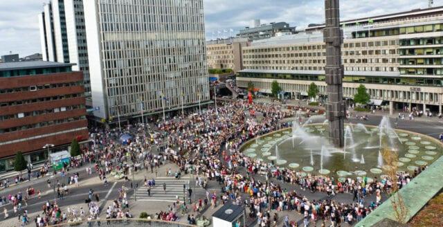 Manifestation mot befolkningsutbyte i Stockholm