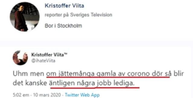 SVT-journalist jublar över att gamla dör av coronaviruset