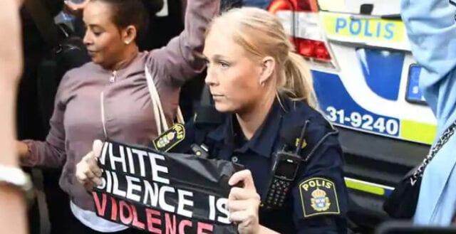 """Svensk polis knäböjde för Black Lives Matter-demonstranter: """"Vit tystnad är våld"""""""