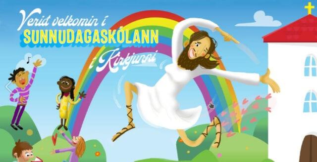 Isländsk kyrka porträtterar Jesus med smink och klänning