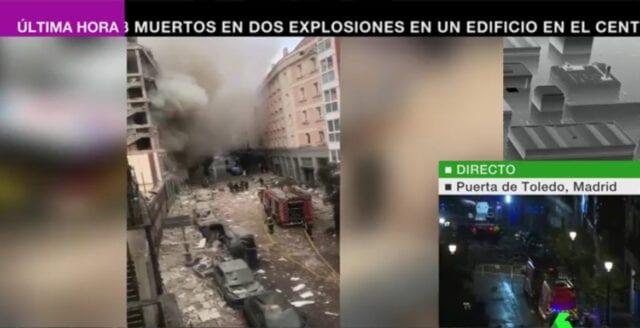Kraftig explosion i centrala Madrid