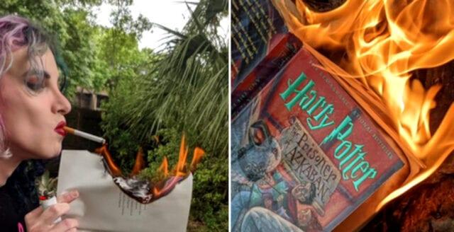 Transaktivist brände Harry Potter-böcker