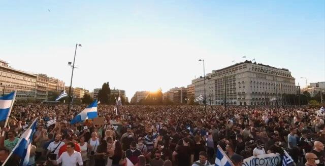 Massprotester mot medicinsk apartheid och barnvaccinationer i Grekland