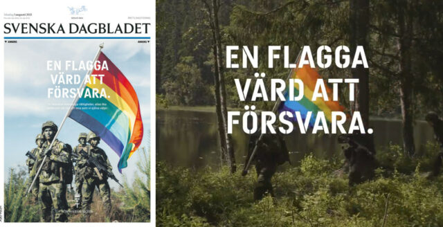Försvarsmaktens nya kampanj: Soldater marscherar med Pride-flagga