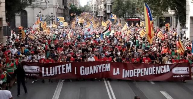 Hätsk stämning när katalaner krävde självständighet