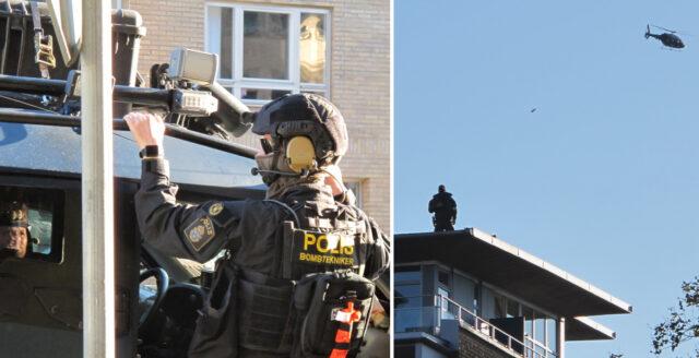 Pansarbilar, krypskyttar och militärhelikoptrar intar Malmö